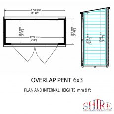 3 x 6 Shire Pent Overlap Shed with Double Doors - internal dimensions