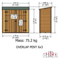 3 x 6 Shire Pent Overlap Shed with Double Doors - external dimensions