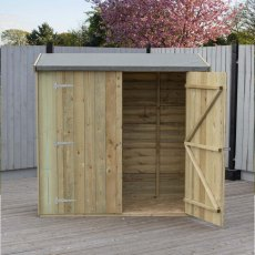 3 x 6 Shire Pent Overlap Shed with Double Doors - Pressure Treated - one door open