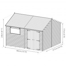 10x16 Mercia Premium Reverse Apex Shiplap Workshop - Pressure Treated - Drawing Dimensions