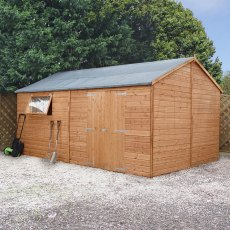 10x16 Mercia Premium Reverse Apex Shiplap Workshop - Pressure Treated - Front View Open Doors