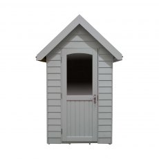 6 x 4  Forest Retreat Redwood Lap Pressure Treated Shed in Pebble Grey - Isolated