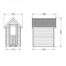 6 x 4  Forest Retreat Redwood Lap Pressure Treated Shed in Pebble Grey - Isolated three-quarter