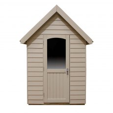 8 x 5 Forest Retreat Pressure Treated Redwood Lap Shed  in Natural Cream - Isolated, door open