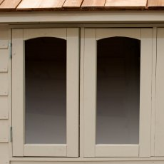 8 x 5 Forest Retreat Pressure Treated Redwood Lap Shed  in Natural Cream - Isolated, three quarter v