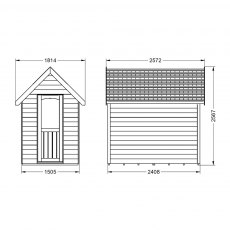 8 x 5 Forest Retreat Pressure Treated Redwood Lap Shed  in Natural Cream - Isolated, door closed