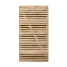 6ft High (1800mm) Forest Contemporary Double-Sided Slatted Gate - Pressure Treated