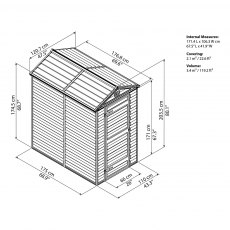 4 x 6 Palram Skylight Plastic Apex Shed - Amber - schematic drawing