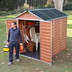 6x8 Palram Skylight Plastic Apex Shed - Amber - with background and doors open