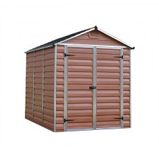 6x8 Palram Skylight Plastic Apex Shed - Amber - white background and doors closed