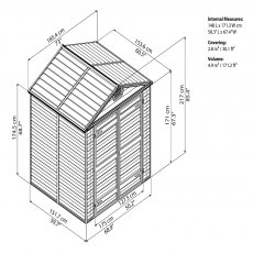 6x5 Palram Skylight Plastic Apex Shed - Dark Grey - schematic drawing
