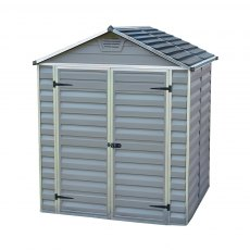 6x5 Palram Skylight Plastic Apex Shed - Dark Grey - white background and door closed