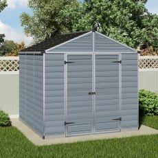 8 x 8 (2.37m x 2.28m) Palram Skylight Plastic Apex Shed - Dark Grey