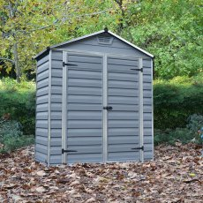 6 x 3 (1.85m x 0.90m) Palram Skylight Plastic Apex Shed - Dark Grey