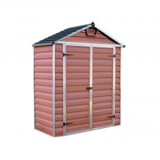 6x3 Palram Skylight Plastic Apex Shed - Amber - no background with door closed