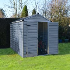 6 x 10 (1.85m x 3.03m) Palram Skylight Plastic Apex Shed - Dark Grey