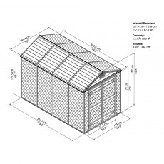 6x10 Palram Skylight Plastic Apex Shed - Amber - diagram