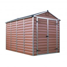 6x10 Palram Skylight Plastic Apex Shed - Amber - white background