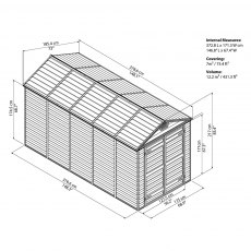 6x12 Palram Skylight Plastic Apex Shed - Grey - diagram