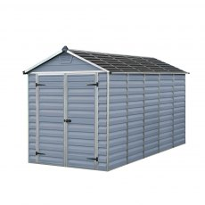 6x12 Palram Skylight Plastic Apex Shed - Grey - isolated view