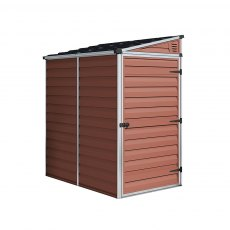 4x6 Palram Skylight Plastic Pent Shed - Amber - white background