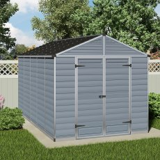 8 x 12 (2.37m x 3.78m) Palram Skylight Plastic Apex Shed - Dark Grey