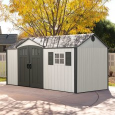 12.5x8 Lifetime Plastic Shed (with Single Entry) - doors closed with background