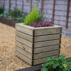 Forest Linear Planter - Square - Pressure Treated - displaying a plant