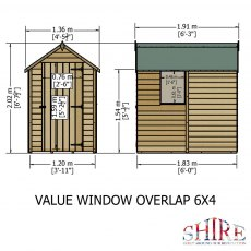 6 x 4 Shire Value Overlap Shed with Window - Dimensions
