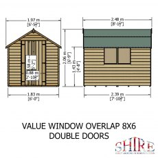 8 x 6 Shire Value Overlap Shed - Dimensions