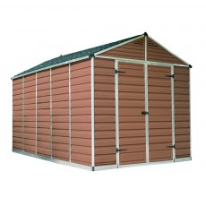 8x12 Palram Skylight Plastic Apex Shed - Amber - white background and doors closed