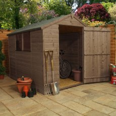 8x6 Mercia Shiplap Apex Shed - Pressure Treated - with background and door open