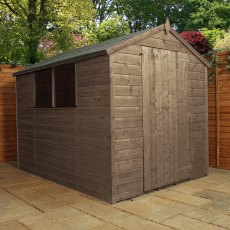 8x6 Mercia Shiplap Apex Shed - Pressure Treated - with background and door closed