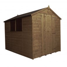 8x6 Mercia Shiplap Apex Shed - Pressure Treated - white background with door closed