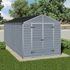 8 x 16 (2.28m x 5.29m) Palram Skylight Plastic Apex Shed - Dark Grey