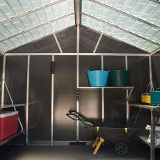 11 x 13 Palram Yukon Plastic Apex Shed - Dark Grey - translucent roof