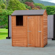 4x6 Shire Overlap Reverse Apex Shed - with window and door on right hand side