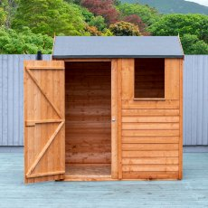 4x6 Shire Overlap Reverse Apex Shed - with door open on the left hand side