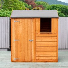 4x6 Shire Overlap Reverse Apex Shed -  front elevation with door closed