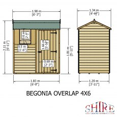 4x6 Shire Overlap Reverse Apex Shed - dimensions