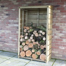 3x1.5 Shire Tall Wall Log Store - Pressure Treated - with background and angled