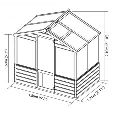 4 x 6 Mercia Traditional Greenhouse - dimensions
