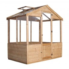 4 x 6 Mercia Traditional Greenhouse - isolated view with roof vent open
