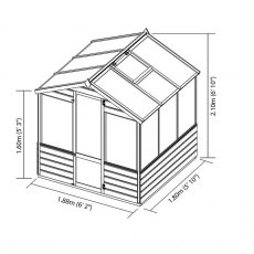 6 x 6 Mercia Traditional Greenhouse - dimensions