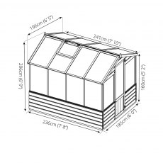 8 x 6 Mercia Traditional Greenhouse - dimensions