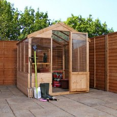 8 x 6 Mercia Traditional Greenhouse - door open with gardening equipment inside