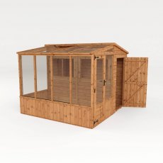 8 x 8 Mercia Premium Greenhouse and Shed Combi - isolated side view