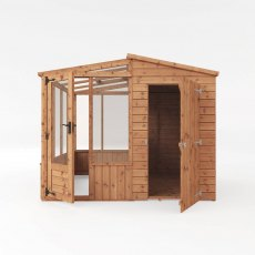 8 x 8 Mercia Premium Greenhouse and Shed Combi - front on view, isolated