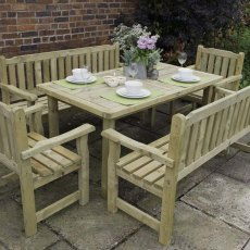Forest Rosedene Chair - Pressure Treated - dressed for dinner with matching table and chairs