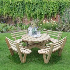 Forest Circular Picnic Table With Seat Backs - 8 Seater